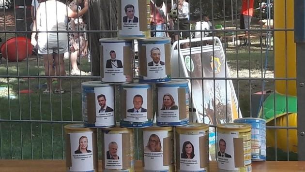 """""""Ibiza-Dosenschießen"""" am SPÖ-Familienfest in Groß-Enzersdorf (Bild: zVg)"""