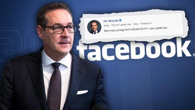 Zankapfel der FPÖ: Straches Facebook-Auftritt (Bild: APA/GEORG HOCHMUTH, facebook.com, krone.at-Grafik)
