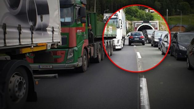 Unlängst fuhr ein Lenker als Geisterfahrer durch die Rettungsgasse auf der S6. (Bild: Einsatzdoku.at, krone.at-Grafik)