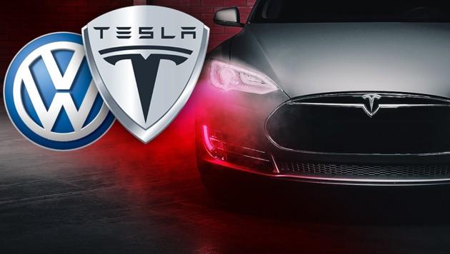 (Bild: VW, Tesla, stock.adobe.com, krone.at-Grafik)