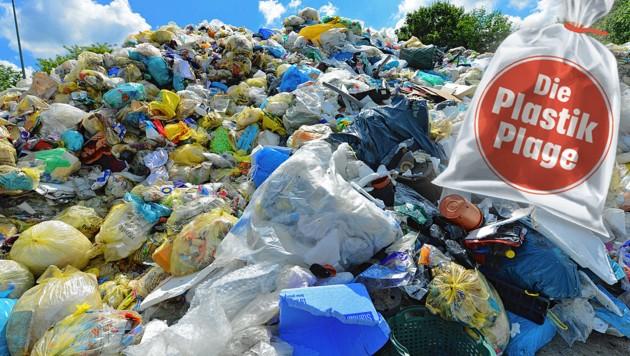 Der Müll im öffentlichen Raum nimmt stark zu. (Bild: stock.adobe.com, Krone-Grafik)