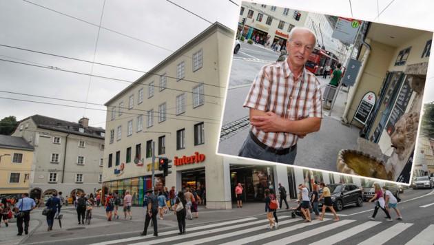 """Der AVA-Hof in der Salzburger Altstadt. Ein bisschen Einkaufszentrum, ein bisschen Bürohaus - doch was haben die neuen Eigentümer mit dem Gebäude vor? Hanuschplatz-Geschäftsleute wie Friedrich Hutzinger wünschen sich mehr """"Leben"""". (Bild: Markus Tschepp)"""