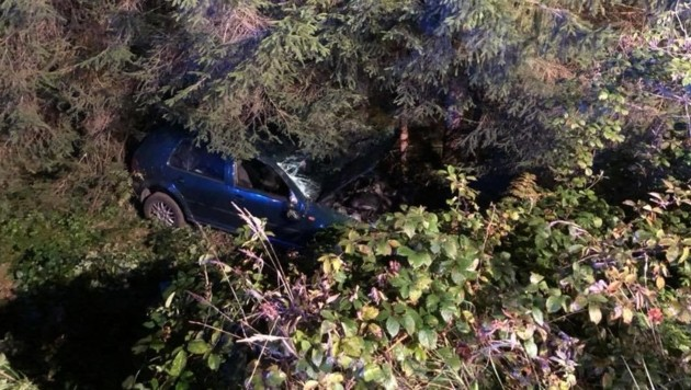 Das Auto kam von der Fahrbahn ab, prallte gegen einen Baum und landete im Straßengraben. (Bild: FF Peratschitzen)