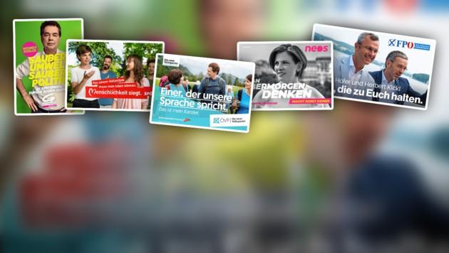 (Bild: FPÖ, Die Grünen, neos, SPÖ, ÖVP, krone.at-Grafik)