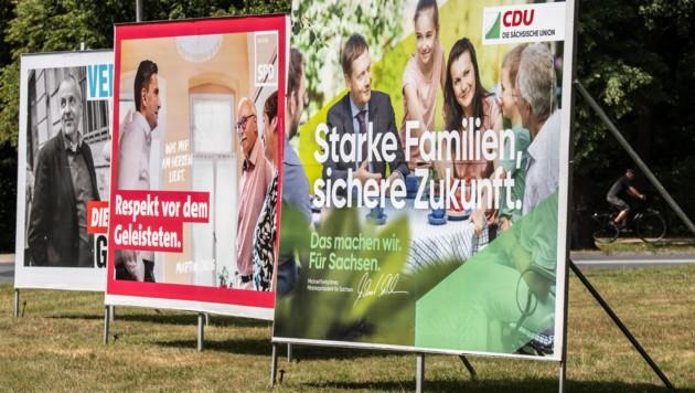Wahlplakate in Sachsen (Bild: The Associated Press)