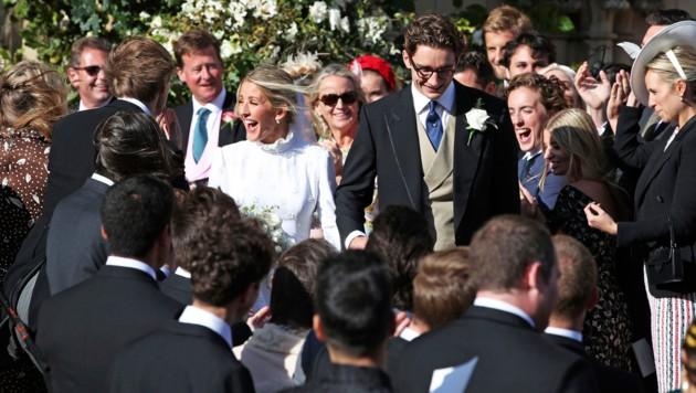 Überglücklich: Ellie Goulding und Caspar Jopling (Bild: AP)