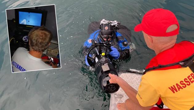 Der Roboter wurde vom Boot der Wasserrettung Ferndorf gesteuert. Die Salzburger Wasserrettung stellte ihn für den Einsatz zur Verfügung.