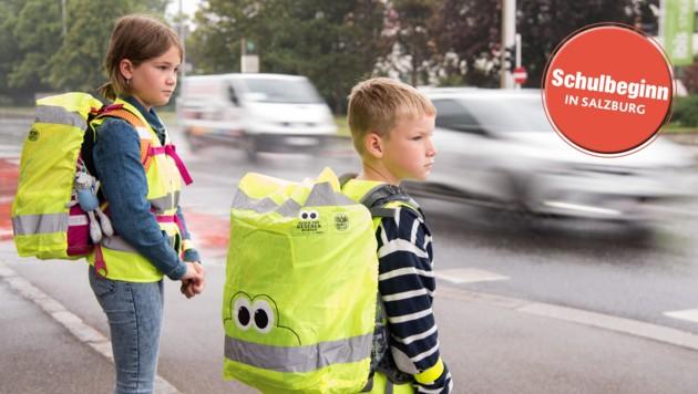 Das Licht reflektierende Warnwesten für Schulanfänger werden von der Polizei empfohlen