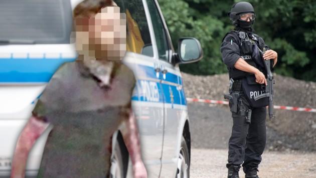 Dem mutmaßlichen Mörder gelang zunächst die Flucht, schließlich stellte er sich aber freiwillig der Polizei. (Bild: APA/dpa-Zentralbild/Hendrik Schmidt, Polizei, krone.at-Grafik)