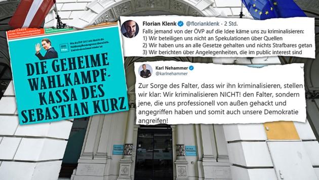 """Der """"Falter"""" und die ÖVP schenken sich derzeit nichts. (Bild: twitter.com, krone.at-Grafik, APA/Robert Jäger)"""