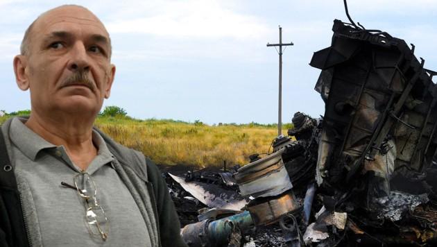 Wladimir Zemach soll am Abschuss von Flug MH17 beteiligt gewesen sein. (Bild: APA/AFP/Sergei SUPINSKY; AP; krone.at-Grafik)
