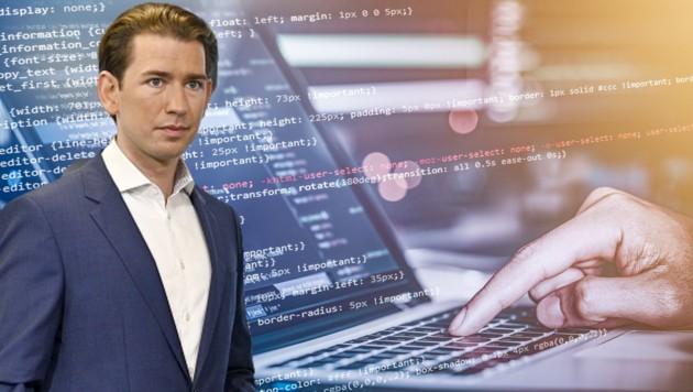 Laut ÖVP-Chef Sebastian Kurz erbeuteten Hacker E-Mails und Dateien der türkisen Zentrale. (Bild: stock.adobe.com, APA/Hans Punz, krone.at-Grafik)