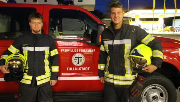 Ingo Blaha und Gerald Federmann riskierten ihr Leben, um die Frau zu retten. (Bild: Freiwillige Feuerwehr Tulln)