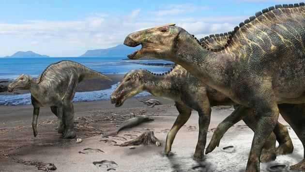 Eine künstlerische Illustration der neu entdeckten Saurier-Art