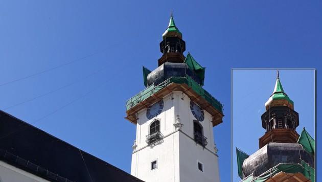 Der Turm der Stadtpfarrkirche St. Johannes wurde renoviert.