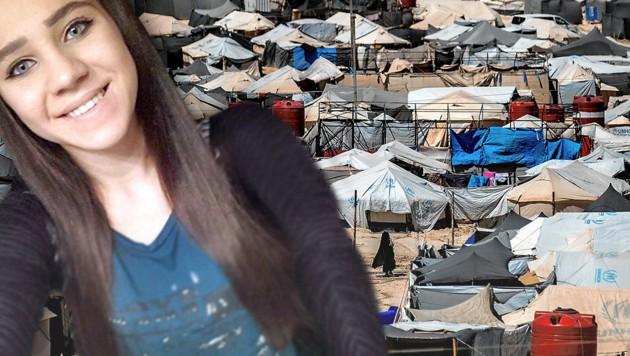 Das syrische Auffanglager al-Hol besteht aus Zeltstädten. Die beiden Kinder von Sabina S. sollen nun nach Wien. (Bild: Interpol, AFP, krone.at-Grafik)