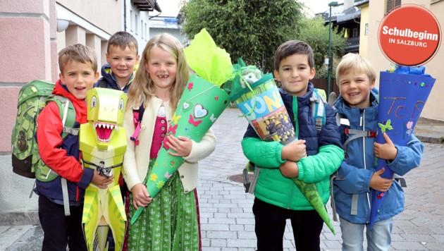 Josef, Zete, Carina, Jonas und Tobias (v. li.) strahlten an ihrem ersten Tag um die Wette (Bild: Roland Hölzl)
