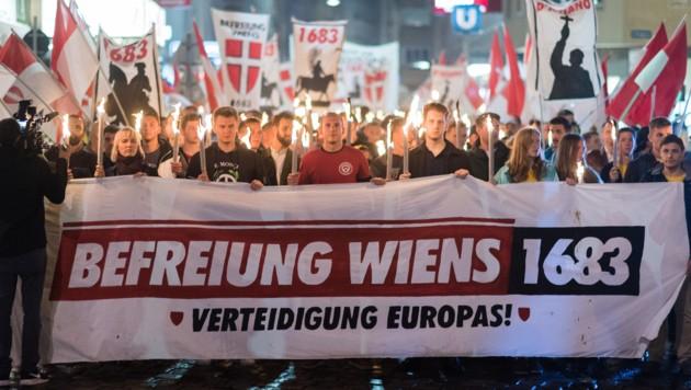 Eine Kundgebung der Identitären am 7. September 2019 in der Wiener Innenstadt (Bild: APA/EXPA/Michael Gruber)