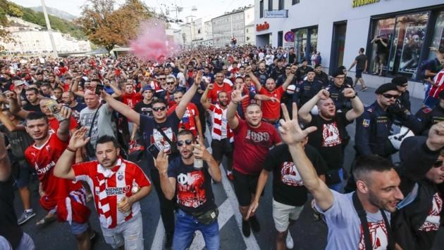 Einen Fanmarsch wie beim Qualifikationsspiel 2018 gegen Belgrad schließt die Polizei aus (Bild: Tschepp Markus)