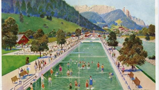 Das Strandbad in Hallein-Gamp war eine Top-Attraktion, mit zehn Meter hoher Rutsche. (Bild: Keltenmuseum Hallein)