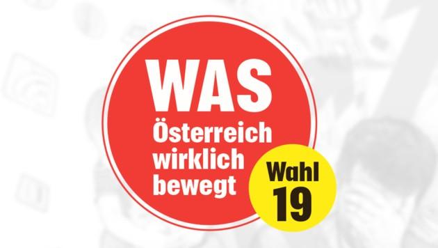 """Was Österreich wirklich bewegt, wollte die """"Krone"""" wenige Wochen vor der Nationalratswahl wissen - und wie die Spitzenpolitik gedenkt, den wichtigsten Anliegen der Bevölkerung zu begegnen. (Bild: krone.at-Grafik)"""