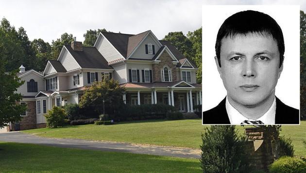 In diesem Haus in Virginia soll Oleg Smolenkow (kl. Bild), mutmaßlicher CIA-Spion im Kreml, gewohnt haben. (Bild: AFP, zVg)