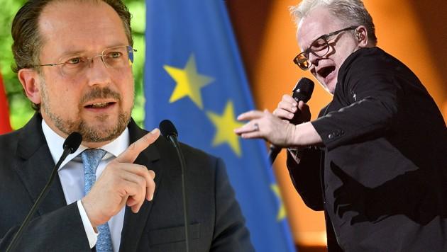 Außenminister Schallenberg (li.), Herbert Grönemeyer (Bild: ATTILA KISBENEDEK/AFP, APA/HANS PUNZ, krone.at-Grafik)