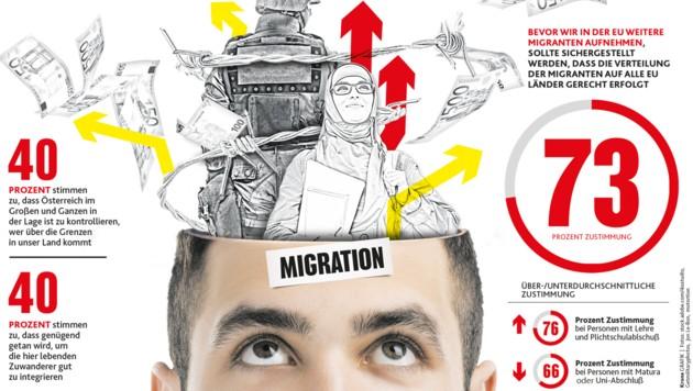 Abgefragt: Migration, Grenzkontrolle, Umverteilung (Bild: stock.adobe.com, krone.at-Grafik)