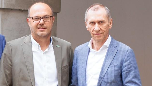 AK-Präsident Josef Pesserl (rechts) und Kassenobmann Josef Harb: schweres Geschütz gegen die neue Österreich-Kasse. (Bild: StGkk/Temel)