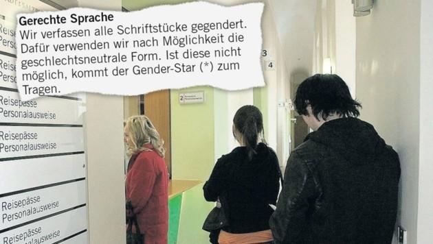 """Die Kunden des Magistrat werden weiterhin mit """"gerechter Sprache"""" samt Binnen-I und Gender-Stern empfangen. (Bild: Andreas Tröster)"""