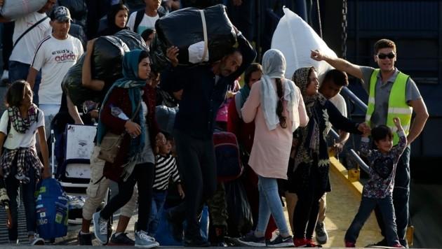 Flüchtlinge im Hafen von Thessaloniki