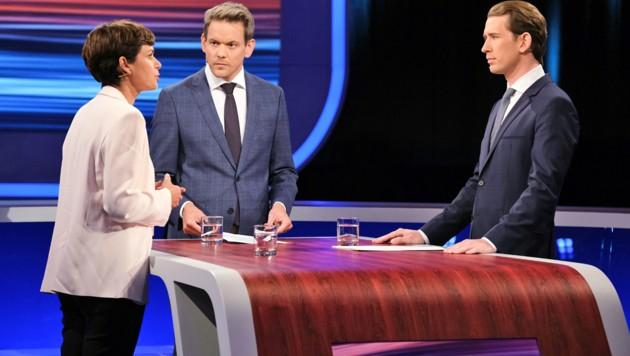 Rendi-Wagner und Kurz bei ihrem äußerst emotionalen ORF-Duell am Mittwoch (Bild: ORF)