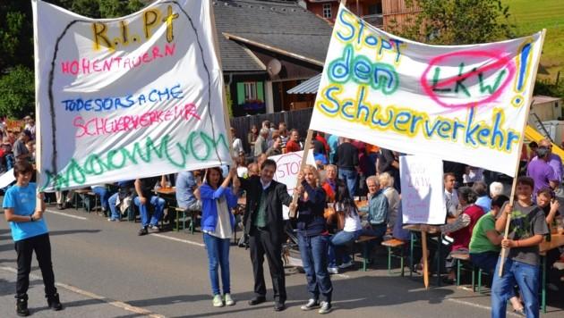 Immer wieder gab es Proteste in Hohentauern für ein Transit-Lkw-Verbot. (Bild: Heinz Weeber)