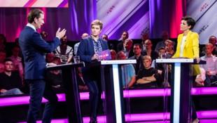 Sebastian Kurz und Pamela Rendi-Wagner schenkten sich im Duell mit Moderatorin Corinna Milborn nichts. (Bild: APA/GEORG HOCHMUTH)