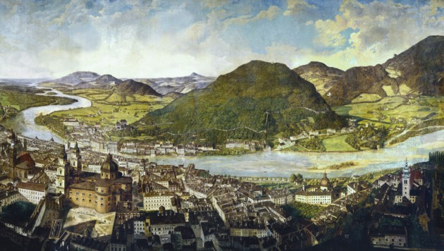 Johann Michael Sattlers berühmtes Salzburg-Panorama. (Bild: Salzburg Museum)