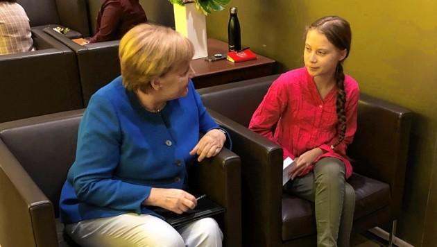 Bundeskanzlerin Angela Merkel traf Greta Thunberg am Rande des Klimagipfels zu einem Vieraugengespräch. (Bild: EPA)