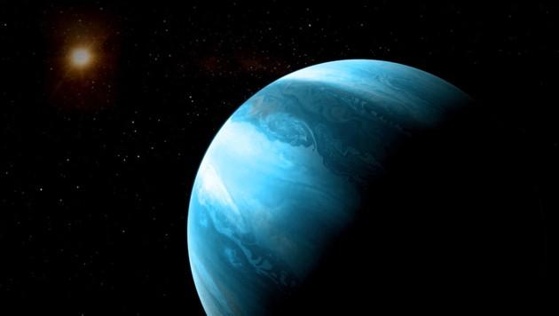 Künstlerische Darstellung des Planeten GJ 3512b (im Vordergrund) vor seiner Sonne (links)