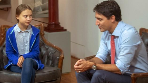 Greta Thunberg und der kanadische Premierminister Justin Trudeau (Bild: AP)