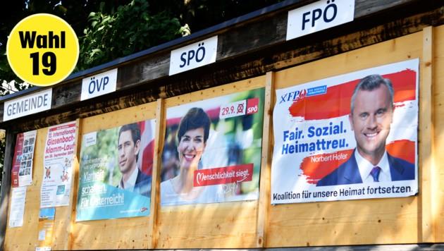 Wahl-Plakate in Elsbethen (Bild: APA/Barbara Gindl)