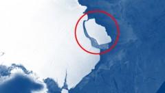 """Der Eisberg D-28 (rot markiert) aufgenommen vom ESA-Satelliten """"Sentinel-1"""" (Bild: Copernicus Data/Sentinel-1, krone.at-Grafik)"""