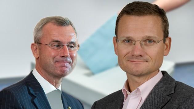 Teilen sich den Nachnamen und das Parteibuch: FPÖ-Chef Norbert und Steuerberater Wolf-Dieter Hofer. (Bild: Markus Wache, EPA, Privat)