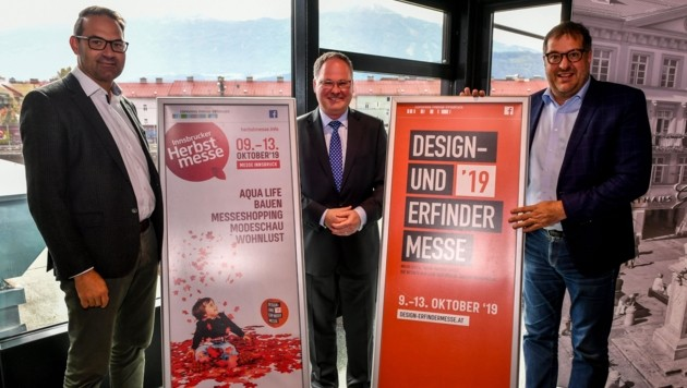 Tiroler WK-Präsident Christoph Walser, Mayerhofer und Gruber (v. l.) sind voller Vorfreude (Bild: LIEBL Daniel | zeitungsfoto.at)