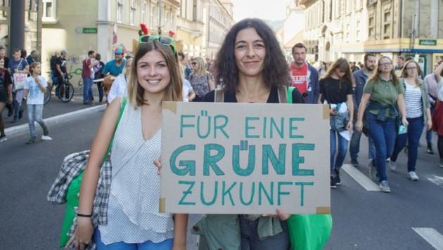 Sandra Krautwaschl (Die Grünen) bei einer Klima-Demo in Graz (Bild: Die Grünen)