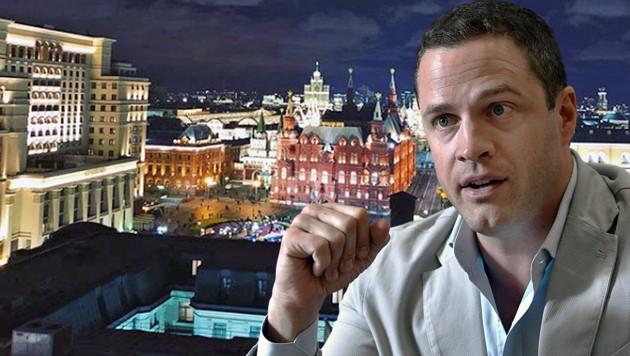 Moskau ist weiter von Ibiza entfernt als Wien. Das wird aber wohl nicht der Grund für den Aufenthalt Johann Gudenus' in der russischen Hauptstadt sein. (Bild: instagram.com/johanngudenus, APA/HANS KLAUS TECHT, krone.at-Grafik)