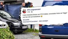 Mit diesem Posting über den Fünffachmord in Kitzbühel sorgt die SPÖ Langenzersdorf wieder einmal für viel Gesprächsstoff im Internet. (Bild: APA/ZEITUNGSFOTO.AT, facebook.com, krone.at-Grafik)