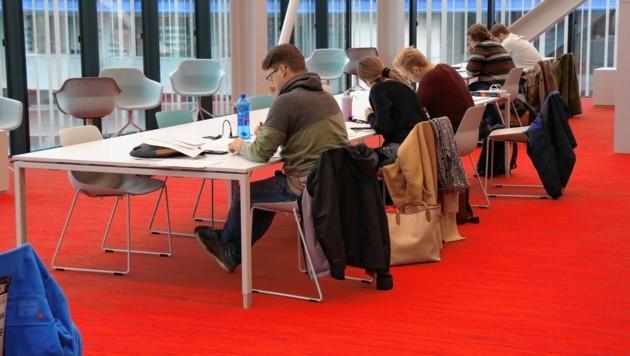 Geräumige Tische, bequeme Sessel und viel Licht: So lassen sich auch die schwierigsten Prüfungen garantiert meistern. (Bild: Christian Jauschowetz)