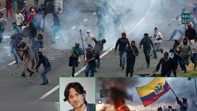 Im Land am Äquator herrscht Ausnahmezustand. Der Klagenfurter Hannes Krakolinig (kl. Bild) ist mitten im Chaos. (Bild: REUTERS (2), Krakolinig)