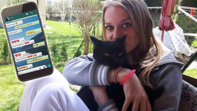 """Irene mit Kater """"Willi"""", der heuer mit 17 Jahren starb. Sie liebte ihn sehr, erzählt die Mama. (Bild: zVg)"""