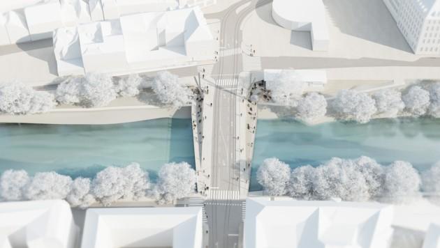 An beiden Seiten waren Sitzstufen hinunter zur Uferpromenade geplant - aus Kostengründen wurde das Projekt jetzt leider abgesagt. (Bild: Wolfgang Tschapeller ZT GmbH/Visualisierung: rococoon)