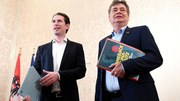 Die Stimmung zwischen ÖVP-Chef Sebastian Kurz und Grünen-Bundessprecher Werner Kogler war bei der ersten Unterredung sehr gut. (Bild: APA/Helmut Fohringer)